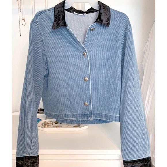 Jackets & Blazers - Vintage Denim Jacket with Black Accents